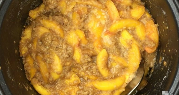 Toss Those Juicy Peaches Into The Crock Pot And Watch A Beautiful Cobbler Cook Up!