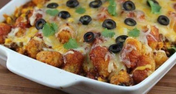 "Taco Tater Tot Casserole Makes You Say, ""Woohoo!"""